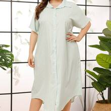 Plus Vertical Striped Button Front Shirt Nightdress
