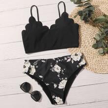Bañador bikini ribete fruncido floral