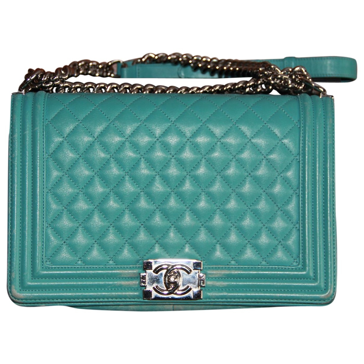 Chanel Boy Turquoise Leather handbag for Women \N