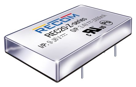 Recom REC20-Z 20W Isolated DC-DC Converter Through Hole, Voltage in 9 → 36 V dc, Voltage out ±12V dc