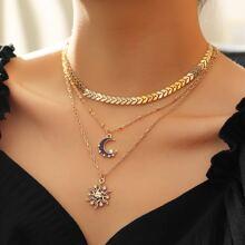 2pcs Sun Moon Pendant Necklace