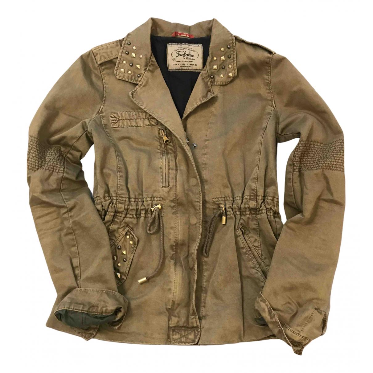 Zara - Veste   pour femme en coton - kaki