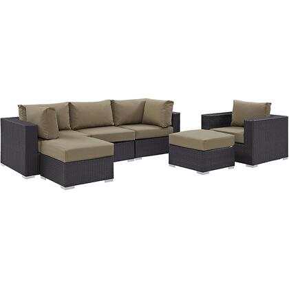 Convene Collection EEI-2207-EXP-MOC-SET 6 PC Outdoor Patio Sectional Set with Powder Coated Aluminum Frame  Waterproof Nonwoven Fabric Inner Cover