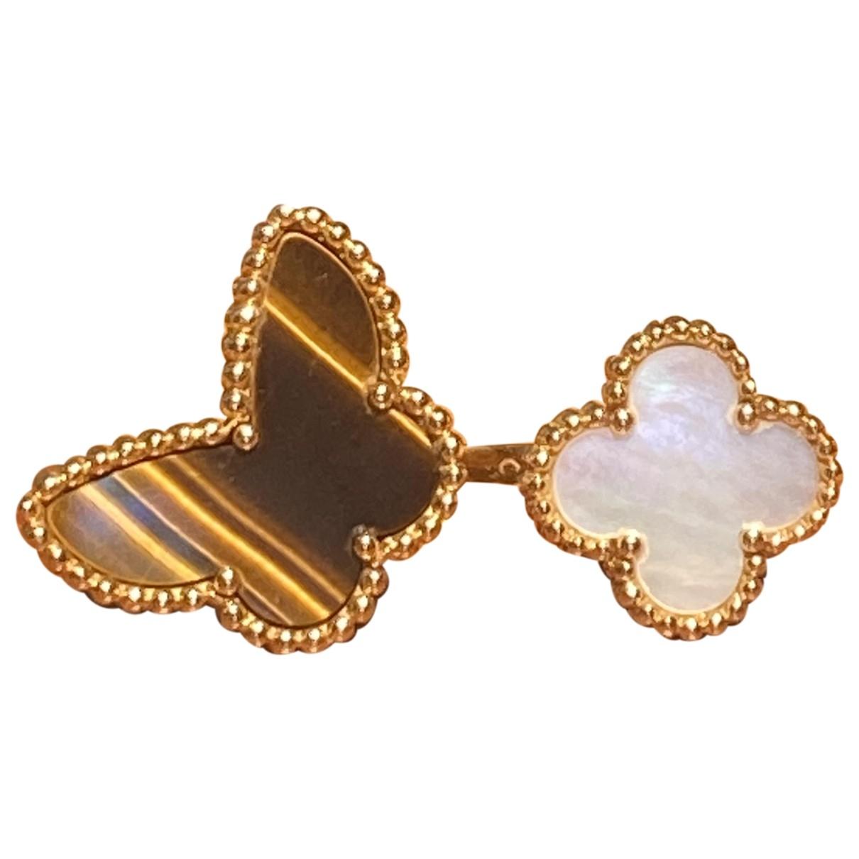 Van Cleef & Arpels - Bague Sweet Alhambra pour femme en or jaune - marron