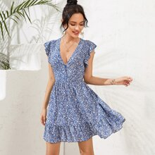 A Linie Kleid mit Blumen Muster und Raffung