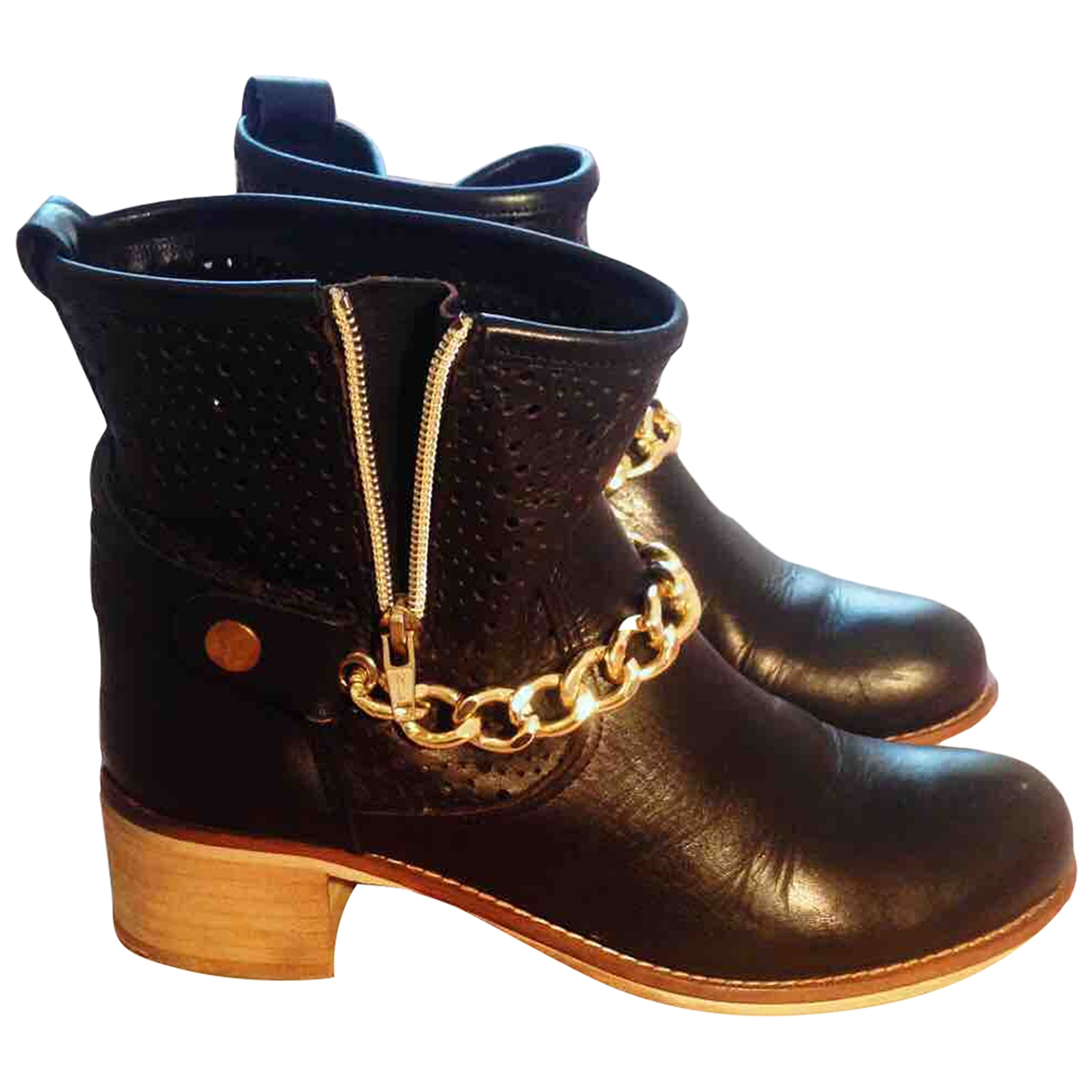 Non Signé / Unsigned \N Black Leather Ankle boots for Women 39 IT