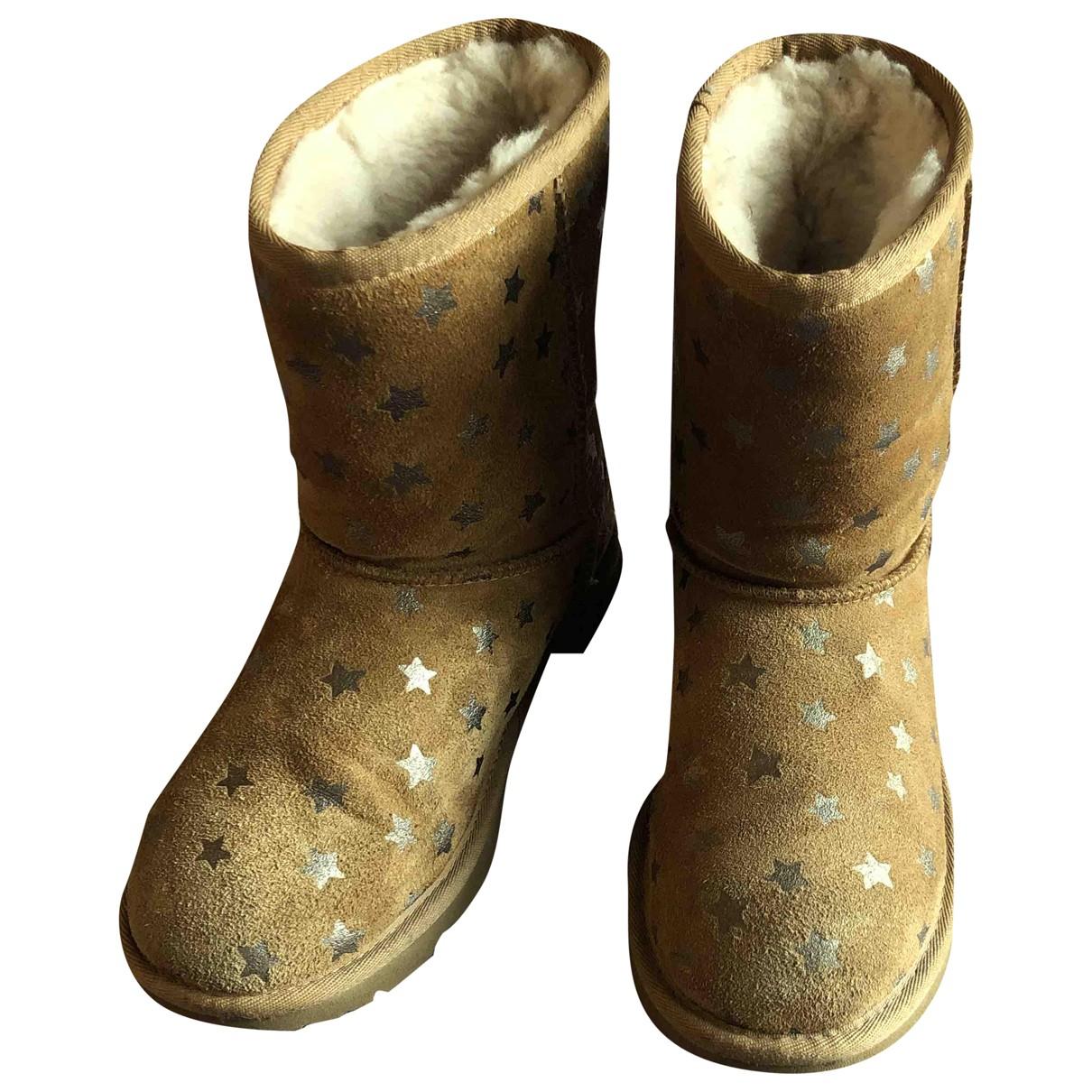 Ugg - Bottes.Bottines   pour enfant en cuir - beige