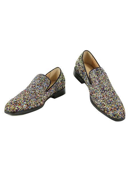 Milanoo Mocasines de hombre 2020 Zapatos de tela brillante de puntera redonda de tacon gordo mocasines para pasar por la noche