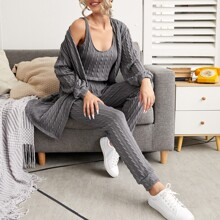 3 Pack Cable Knit Robe Lounge Set