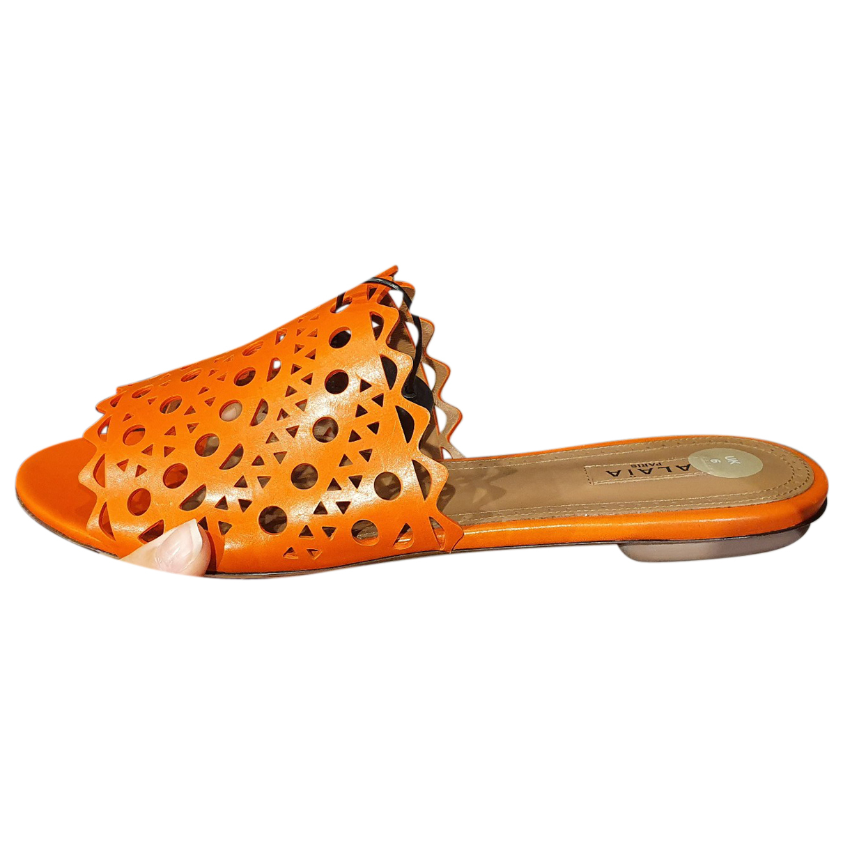 Alaia \N Sandalen in  Orange Leder