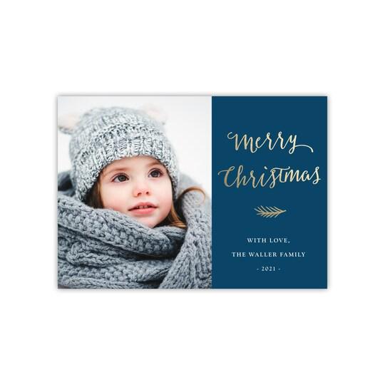 Gartner Studios® Personalized Pine Sprig Flat Foil Holiday Photo Card | Michaels®