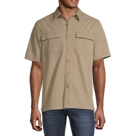 Arizona Mens Short Sleeve Button-Down Shirt, Xx-large , Beige