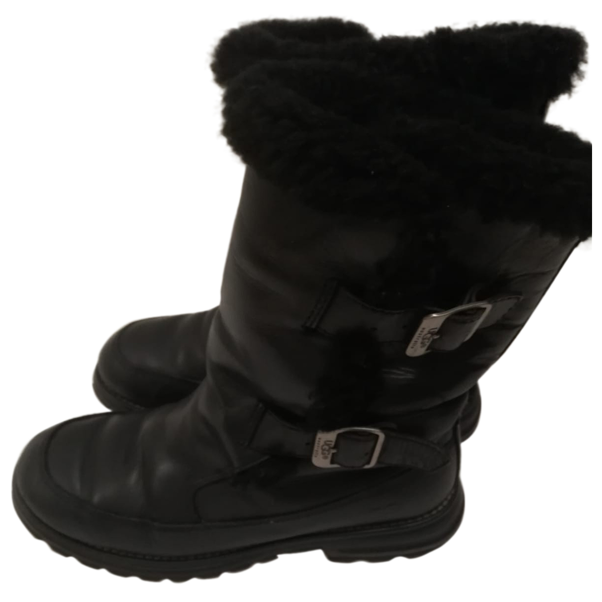 Ugg - Boots   pour femme en cuir - noir
