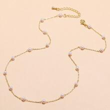 Faux Pearl Chain Necklace