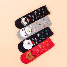 4 pares calcetines con dibujos animados de navidad
