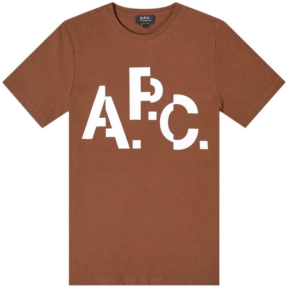 A.P.C Decale Logo T-Shirt Colour: BROWN, Size: MEDIUM