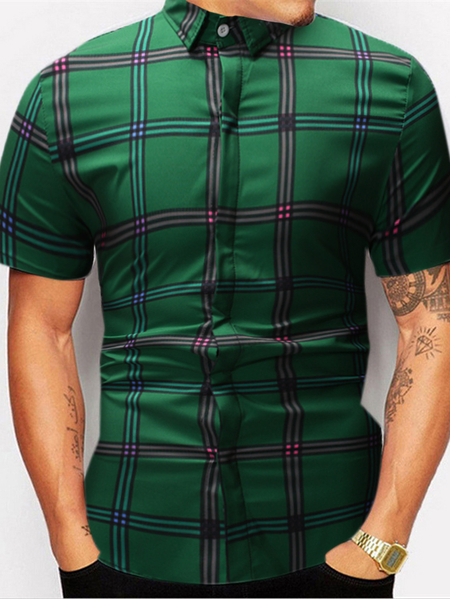 Yoins Men Summer New Plaid Cotton Casual Short Sleeve Shirt