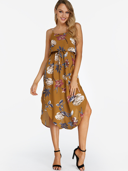 Yoins Yellow Random Floral Print Sleeveless Blackless Stretch Waist Slit Hem Dress