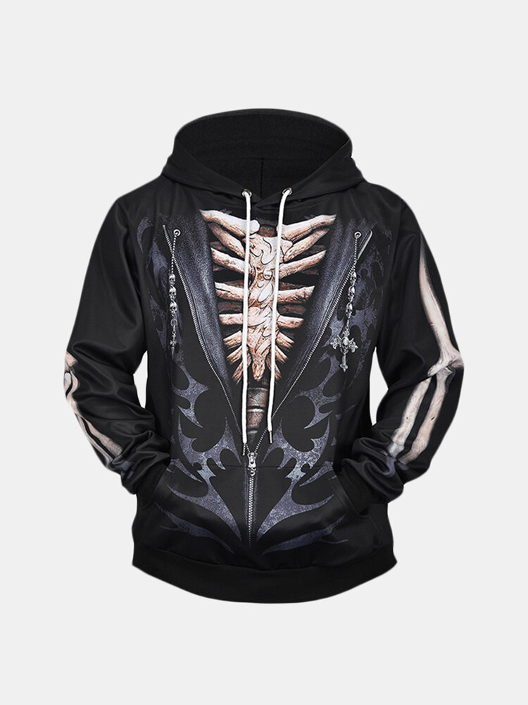 Mens Skull 3D Print Drawstring Hoodies Casual Plus Size Loose Long Sleeve Sweatshirt