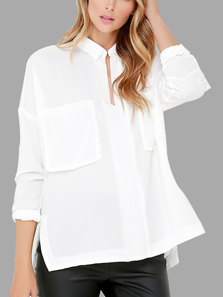 Yoins White Chest Pockets Blouse