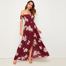 Floral Off Shoulder Split Thigh Shirred Dress