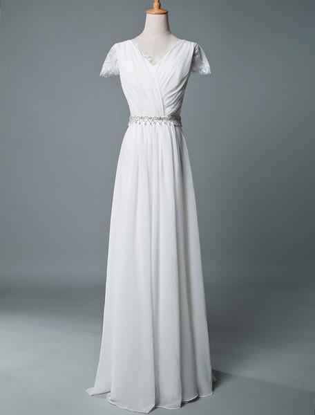 Milanoo Vestidos de novia Boho 2020 A Line V cuello de encaje de manga corta hasta el suelo vestido de novia de gasa