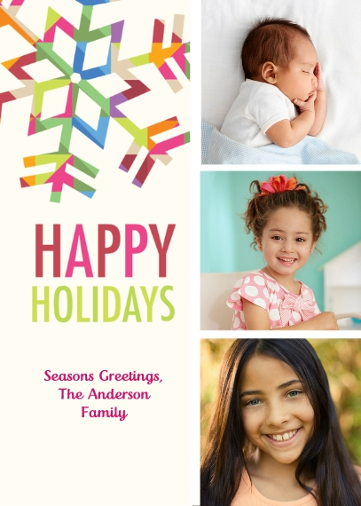 Holiday Photo Cards 5x7 Folded Cards, Premium Cardstock 120lb, Card & Stationery -Prism Snowflake