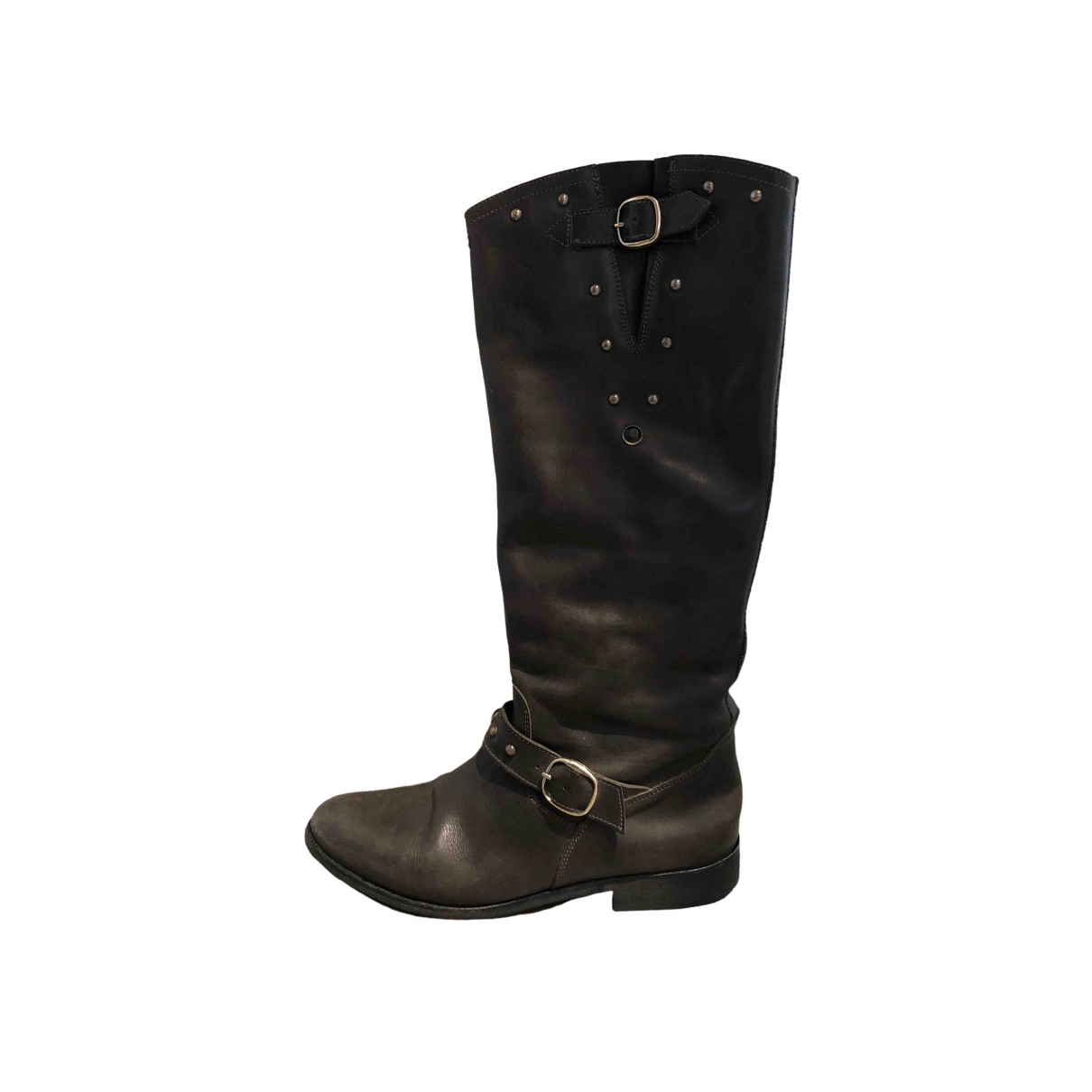 Golden Goose \N Anthracite Leather Boots for Women 40 EU