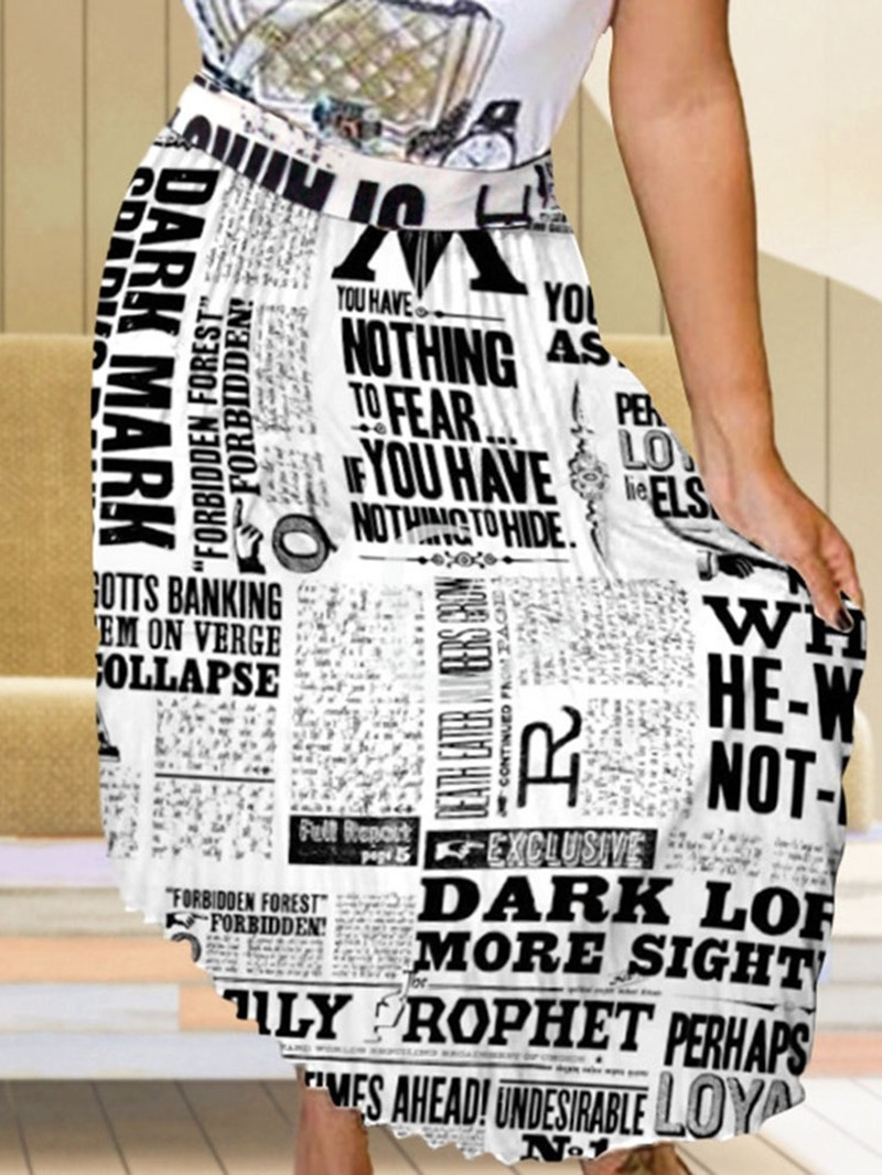 Ericdress Ankle-Length Letter Print High Waist Fashion Skirt