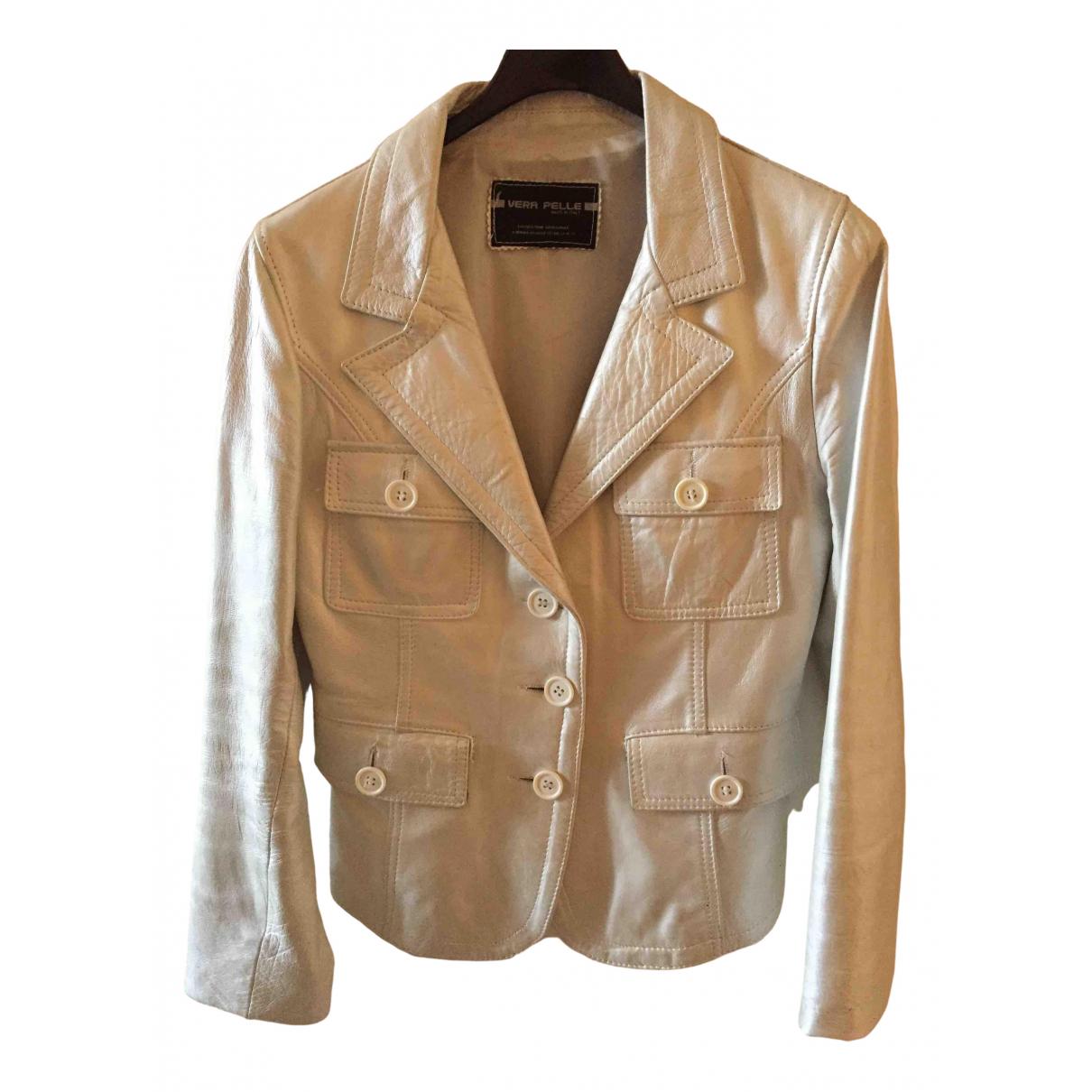 - Veste   pour femme en cuir - argente