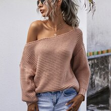 Solid Scoop Neck Drop Shoulder Sweater
