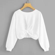 Solid Twist-Front Cropped Sweatshirt
