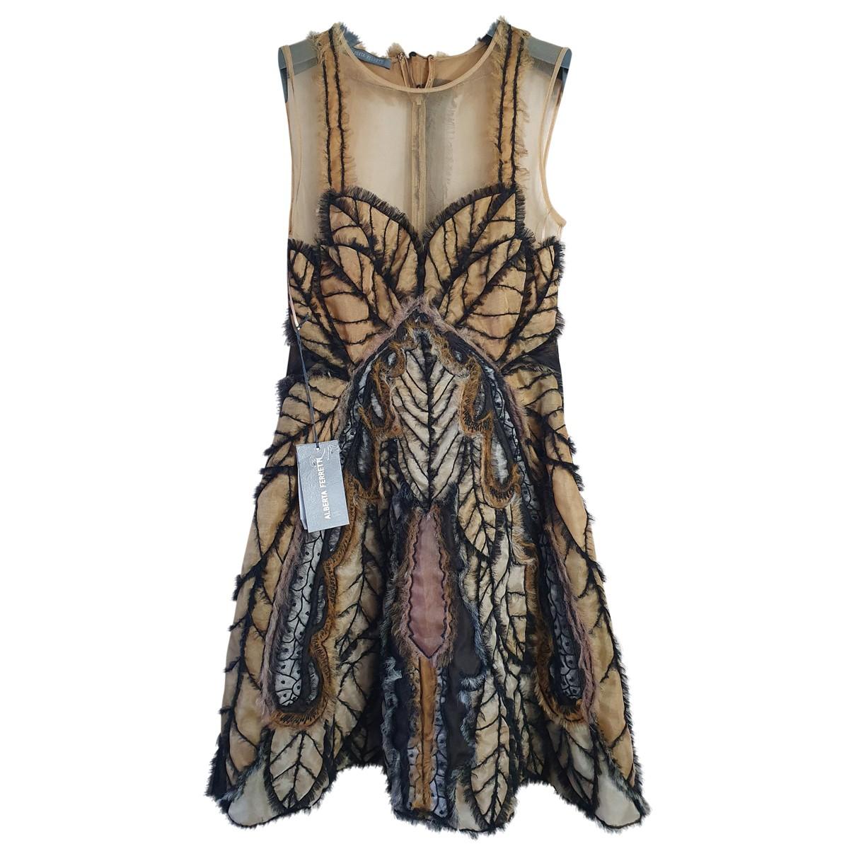 Alberta Ferretti \N Beige Silk dress for Women 38 IT