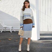 Drop Shoulder Colorblock Sweater & Skirt Set