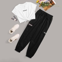 Letter Graphic Twist Front Tee & Pocket Side Drawstring Pants Set
