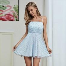 Double Crazy Cami Kleid mit Glitzer, Herzen Muster und Netzstoff