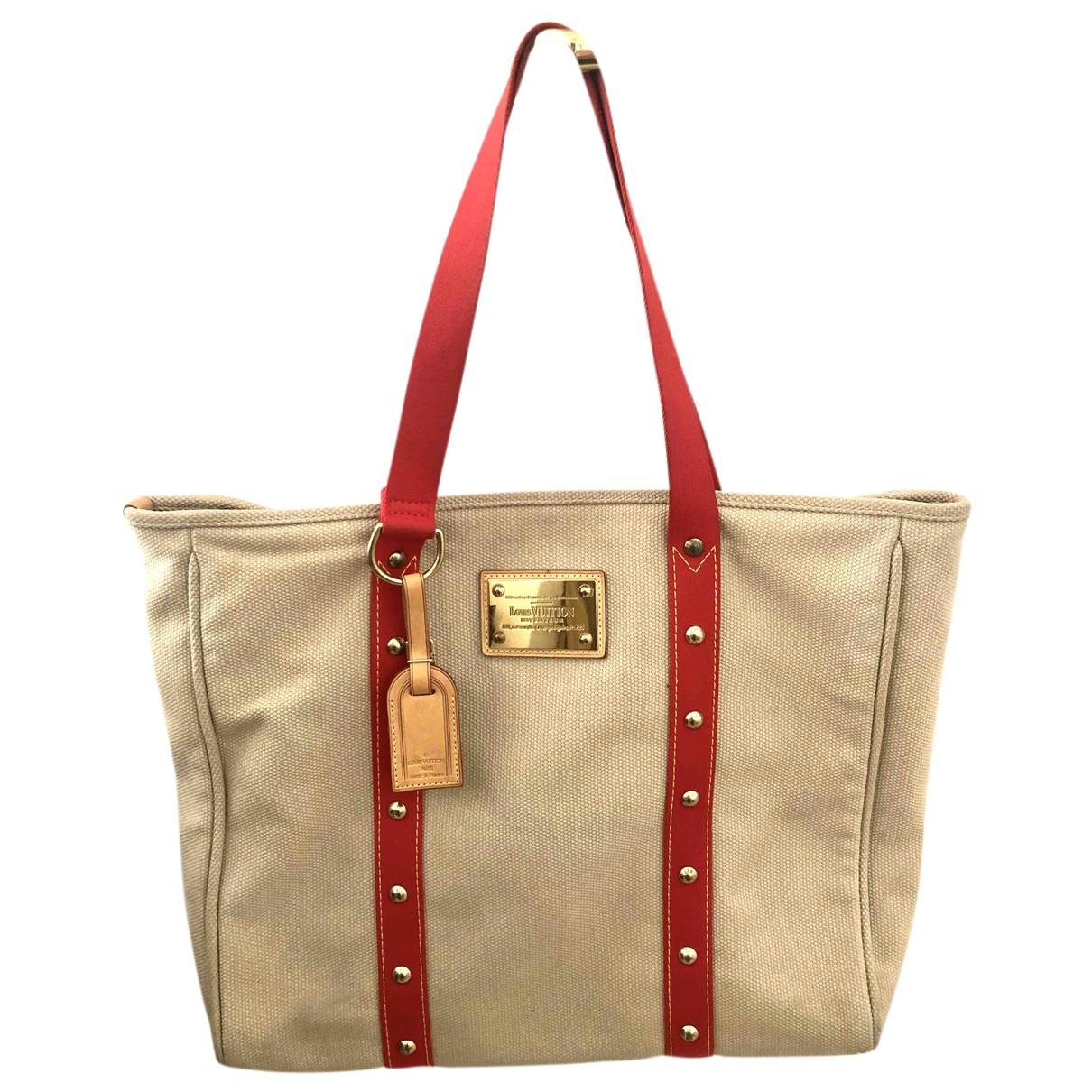 Bolso de mano Antigua en Algodon Beige Louis Vuitton