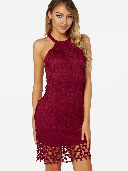 Yoins Burgundy Backless Lace Halter Sleeveless Dress