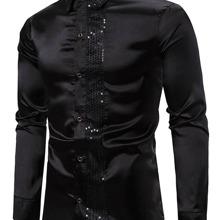 Men Contrast Sequin Button Through Satin Shirt