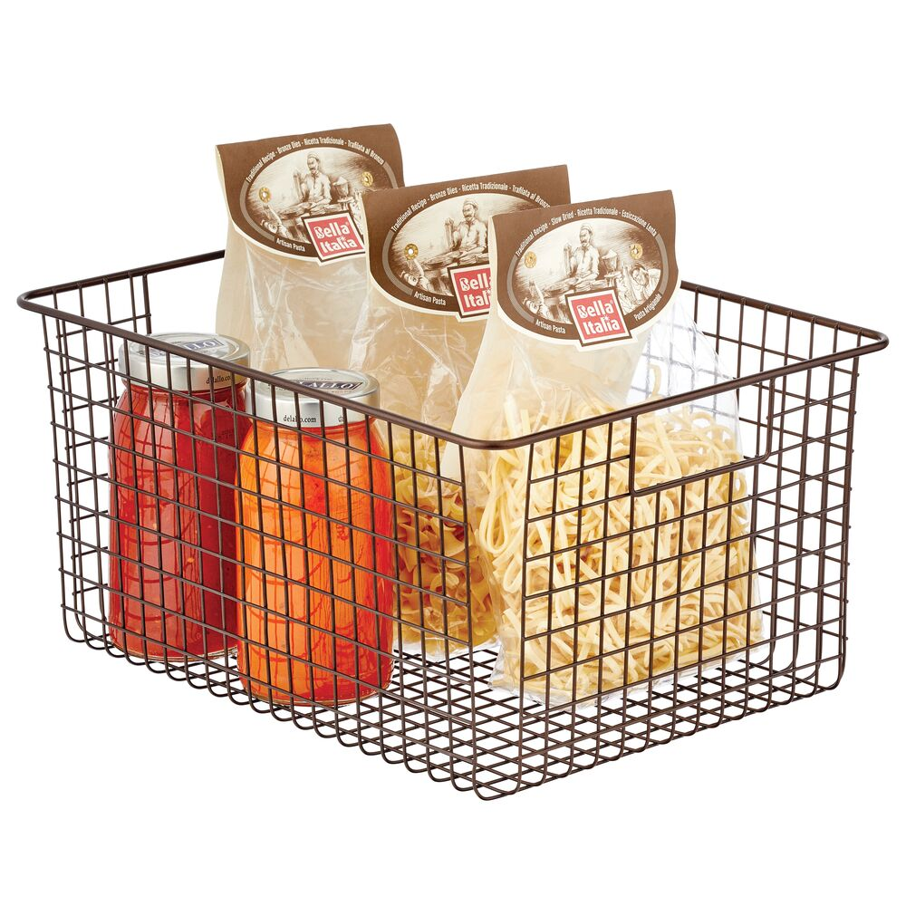 Wide Metal Wire Kitchen Pantry Food Storage Basket with Handles in Bronze, 16 x 12 x 8, by mDesign