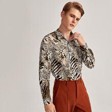 Shirt mit Zebra Streifen und Leopard Muster