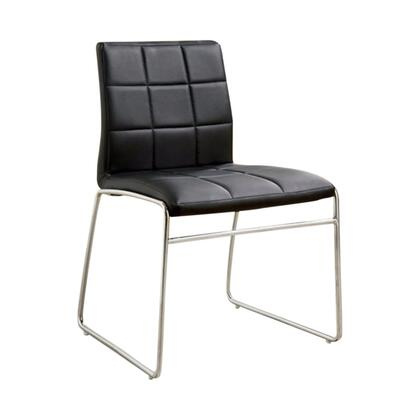 BM131830 Oahu Contemporary Side Chair With Steel Tube  Black Finish  Set Of