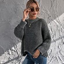 Ribbed Knit Scallop Hem Drop Shoulder Sweater