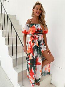 Cold Shoulder Belted Tropical & Floral Dress