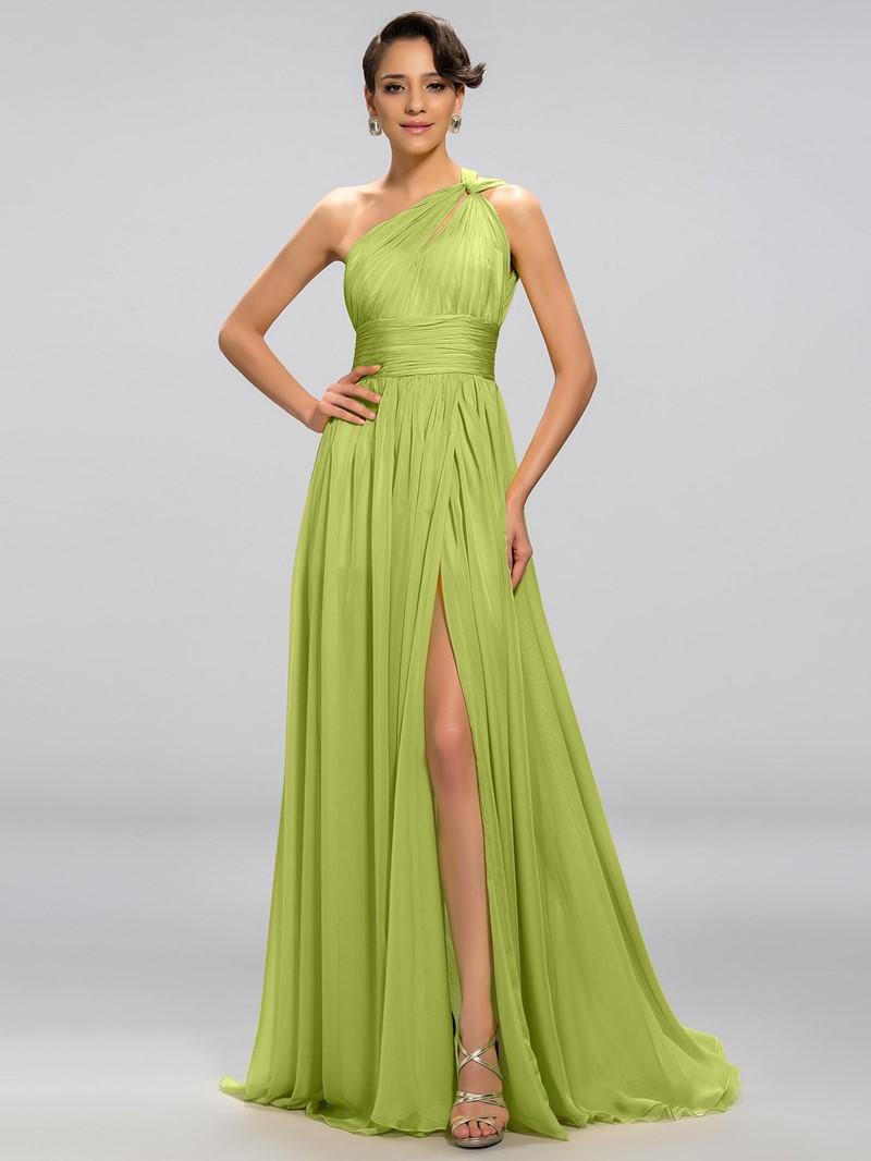 Sexy A-line One-Shoulder Split Front Floor Length Evening Dress
