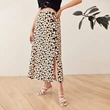 Buttoned Split Side Floral Print Skirt