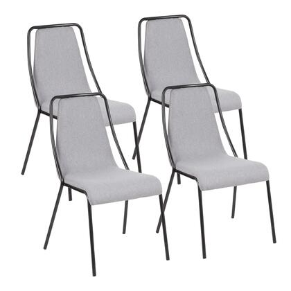 CH-KATA BK+GY4 Katana Contemporary Chair in Black Metal and Grey Fabric- Set of
