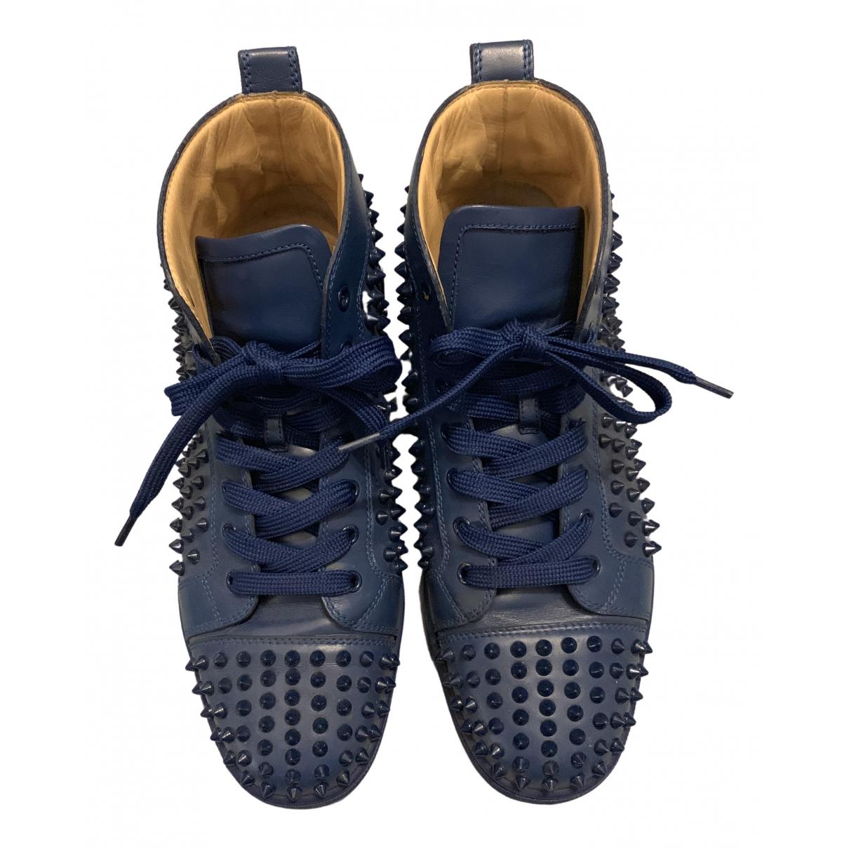 Christian Louboutin - Baskets Louis pour homme en cuir - bleu