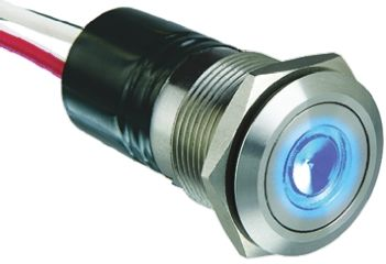 Bulgin Single Pole Single Throw (SPST) Momentary Blue LED Push Button Switch, IP66, 19.2 (Dia.)mm, Panel Mount, 24V dc