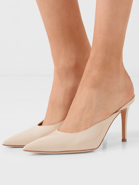 Milanoo Black High Heels Women Mules Shoes Pointed Toe Backless Pumps
